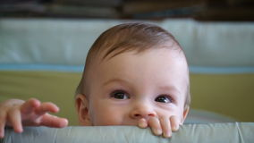 Neunmonatiger Junge der Gesamtlänge sitzt im Laufstall stock video footage