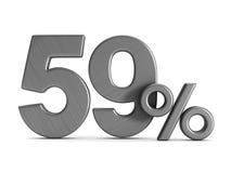 Neunundfünfzig Prozent auf weißem Hintergrund Lokalisierte Illustration 3d Stockbilder