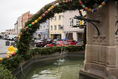 Opening of Easter Fountain in Neuöetting royalty free stock image