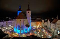 Neupfarrplatz julmarknad i bavaria Tyskland royaltyfri foto