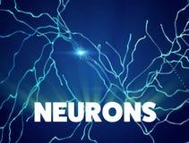 Neurônios, sinapses, circuito dos neurônios, cérebro da rede neural, doenças degenerativos, Parkinson ilustração stock