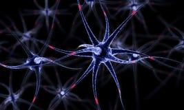 Neurônios na ilustração do cérebro 3d Fotografia de Stock Royalty Free