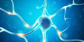 Neurônios no cérebro com efeito de foco rendição 3d ilustração stock