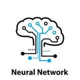 Neuraal netwerkconcept Verbonden cellen met verbindingen Geavanceerd technisch proces Diep lerend royalty-vrije illustratie