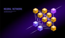 Neural net. Neuron network. Deep learning. Cognitive technology concept. Logical artificial intelligence memory. Processor mathematics. Violet neon color gold Stock Photo