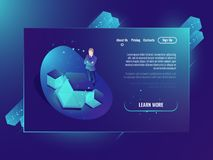 Neural network concept, development of artificial intelligence, server room, web hosting, cloud data storage isometric. Ultraviolet neon background Royalty Free Stock Images