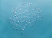 Neural network. Created by pins and threads Stock Photo
