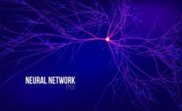 Neural network 3d abstract vector illustration. Data tree with root. Information stream. Kernel computing system. Background Stock Images