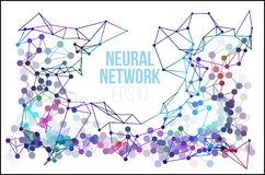 Neural network illustration. Abstract machine learning process. Geometric data cover. Background Stock Images