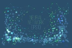 Neural network illustration. Abstract machine learning process. Geometric data cover. Background Royalty Free Stock Photos