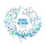 Neural network illustration. Abstract machine learning process. Geometric data cover. Background Stock Image