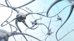 Neural networks. Artificial neural networks, 3D rendering Stock Image