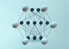 Neural networks. Artificial neural networks, 3D rendering Royalty Free Stock Images