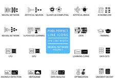 Neural Networks and Deep Learning vector icon set optimized for web use vector illustration