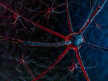 Neural sieć na zmroku - błękitny tło Fotografia Royalty Free