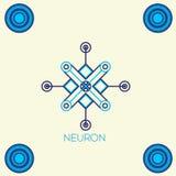 Neurale Netze, Begriffszeichen mit Neuronform Lizenzfreies Stockfoto