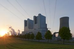 Neurath power plant. At sunset Stock Photography
