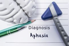 Neurological diagnosis of Aphasia. Neurological reflex hammer, shape of the brain, pen and pencil the lying on a medical report, l. Abeled with diagnosis of stock photography