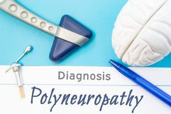Neurological diagnosis of Polyneuropathy. Neurological hammer, human brain figure, tools for sensitivity testing are next to title. Of text diagnosis of Royalty Free Stock Photo