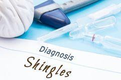 Neurological hammer, brain shape, syringe with needle and vials of medicines are next to inscription Diagnosis Shingles. Diagnosti stock image