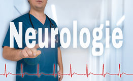 Neurologie in german Neurology doctor pointing at viewer with. Heart rate concept royalty free stock photos