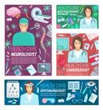 Neurologie-, Kardiologie- und Augenheilkundemedizin lizenzfreie abbildung