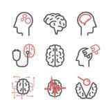 Neurologie-Mitte Klinikikonen Gehirnzeichen Auch im corel abgehobenen Betrag vektor abbildung