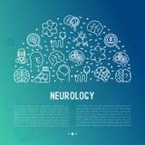 Neurologiekonzept im Kreis mit dünner Linie Ikonen lizenzfreie abbildung