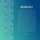 Neurologiekonzept mit dünner Linie Ikonen stock abbildung