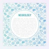 Neurologiekonzept mit dünner Linie Ikonen lizenzfreie abbildung