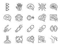 Neurologielinie Ikonensatz Enthaltene Ikonen, wie neurologisch, Neurologe, Gehirn, Nervensystem, Nerven und mehr vektor abbildung