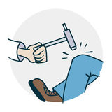 Neurologist checks reflexes. Icon on medical subjects. Illustration of a funny cartoon style Stock Images