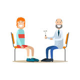 Neurologist concept vector illustration in flat style. Vector illustration of doctor neurologist examining his patient male with reflex hammer. Medical Royalty Free Stock Photos
