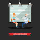Neurologist and patient vector illustration in flat style Royalty Free Stock Photos