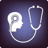 Neurology. Stethoscope listening to the brain royalty free illustration