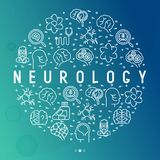 Neurology concept in circle with thin line icons. Brain, neuron, neural connections, neurologist, magnifier. Vector illustration for background of medical royalty free illustration