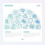 Neurology concept in half circle. With thin line icons: brain, neuron, neural connections, neurologist, magnifier. Vector illustration for background of medical royalty free illustration