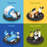 Neurology Concept Icons Set. With neural interface symbols isometric isolated vector illustration vector illustration
