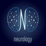 Neurology concept. Linked human brain as mental health symbol vector illustration
