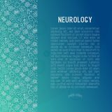 Neurology concept with thin line icons. Brain, neuron, neural connections, neurologist, magnifier. Vector illustration for medical survey or report with place stock illustration