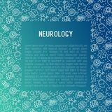 Neurology concept with thin line icons. Brain, neuron, neural connections, neurologist, magnifier. Vector illustration for background of medical survey or vector illustration
