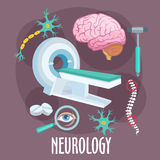 Neurology flat symbol with brain research icons Stock Photography