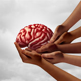 Neurology Health Group. Care as diverse hands holding a human brain as a team psychology metaphor with 3D illustration elements stock illustration