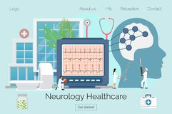 Neurology healthcare  concept. Flat tiny nerve study doctor concept. Anatomical knowledge science of brain and senses diseases. Examine internal health and stock illustration