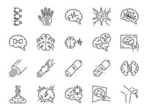 Neurology line icon set. Included icons as neurological, neurologist, brain, nervous system, nerves and more. Vector and illustration: Neurology line icon set vector illustration