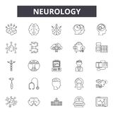 Neurology line icons, signs, vector set, linear concept, outline illustration. Neurology line icons, signs, vector set, outline concept linear illustration stock illustration