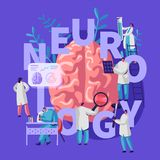 Neurology Medical Banner. Medicine Neurologist Doctor Hospital Worker Specialist Professional Diagnostic. Tomography Examination. Treatment Man Person. Flat vector illustration
