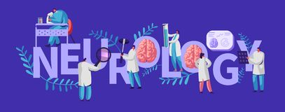 Neurology Medical Banner. Neurologist Medic Healthcare Hospital Specialist Professional Diagnostic Tomography Diseas. Examination Procedure for Patient. Flat royalty free illustration