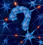 Neurology Questions. Medical concept with active human neurons shaped as a question mark as a metaphor for scientific research into the brain and neurological stock illustration