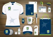 Neurology Star Gift Items Logo, corporate identity template design, stationery green. Neurology Star Gift Items Logo With corporate identity template design of Stock Photography